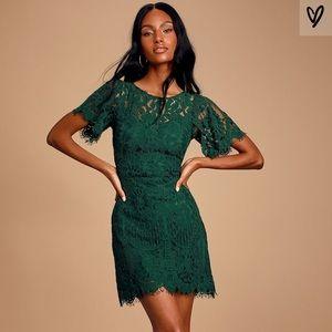 Lulu's Green Lace Party Dress